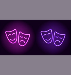 Purple and violet neon mask vector