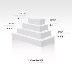 Pyramid cube infographic side view white color vector