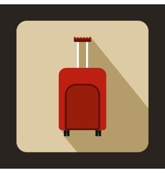 Red travel suitcase icon flat style vector image