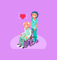 Retirement community isometric people vector