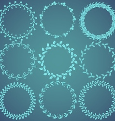 Round hand drawn floral pattern wreaths vector image
