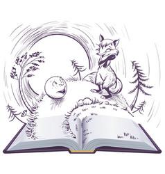 russian fairy tale bun open book sly vector image