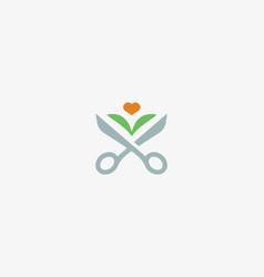 scissors leaf logotype flower heart barber vector image