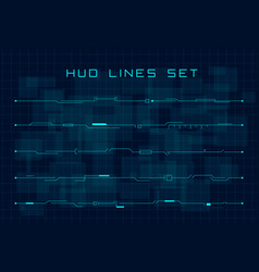 set blue hud futuristic header and footer vector image