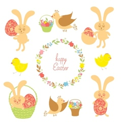 set for Easter with Easter items vector image