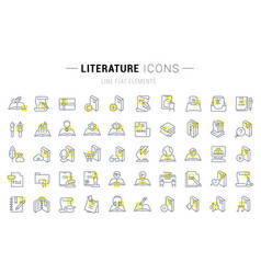 set line icons literature vector image
