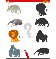 Shadow game with cute animal characters vector