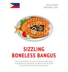 Sizzling boneless bangus vector
