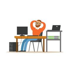 Smiling man working on the computer in the office vector