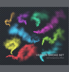 smoke a set different color realistic vector image