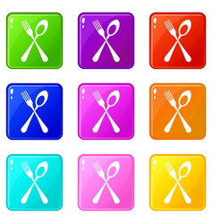 spoon and fork icons 9 set vector image