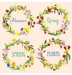 Spring floral wreaths with field flowers and herbs vector image