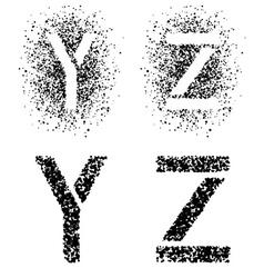 Stencil angular spray font letters y z vector