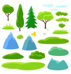 Summer set trees mountains and hills seasonal vector