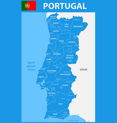 the detailed map of portugal with regions or vector image