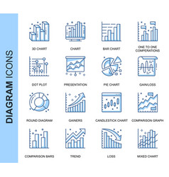 thin line diagram related icons set vector image