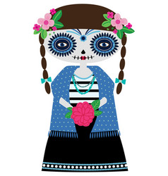 turquoise catrina doll vector image