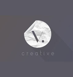 v letter logo with crumpled and torn wrapping vector image