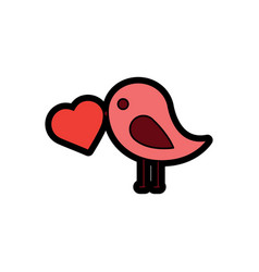 valentines day bird with heart in beak lovely vector image