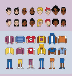 Video game avatars parts vector
