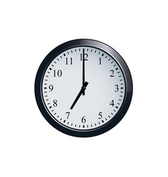 Wall clock set at 7 o clock vector