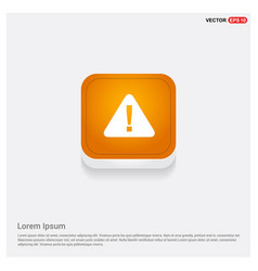 Warning icon orange abstract web button vector