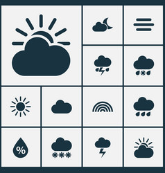 Weather icons set collection of cloudy lightning vector