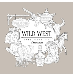 Wild West Set Vintage Sketch vector image
