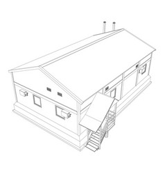 wire-frame industrial building vector image