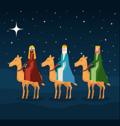wise kings in camels manger characters vector image