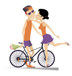 Woman kissing a cyclist man who has won the race vector