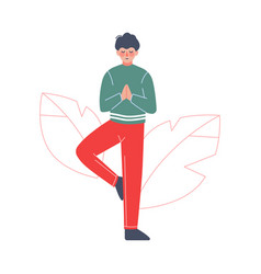young man meditating to calm down stressful vector image