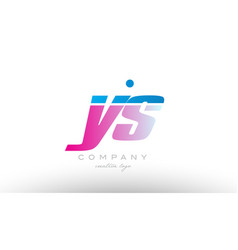Ys y s alphabet letter combination pink blue bold vector