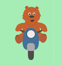 Bear on the moped vector