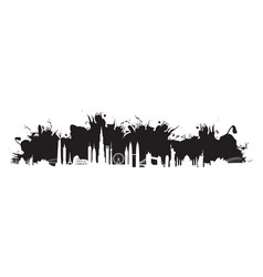 Black cityscape splash vector