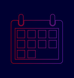 calendar sign line icon with vector image