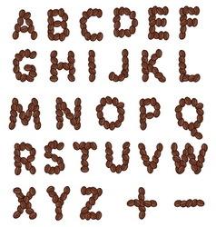 Coffee grain alphabet resize vector image vector image