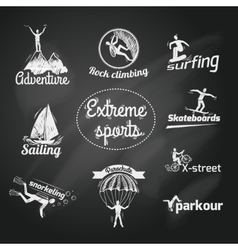 Extreme sports icon chalkboard vector image vector image