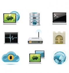 internet and network icons vector image vector image