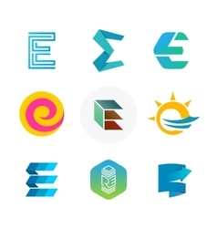 Letter E logo set Color icon templates design vector image