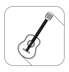 square shape with silhouette acoustic guitar vector image vector image