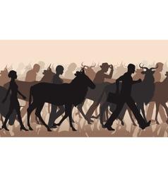 Commuting people and wilderbeest vector image vector image