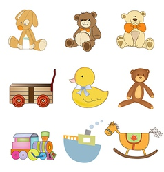 funny toys items set isolated on white background vector image