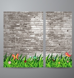 green grass over brick wall background vector image vector image