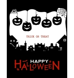 Halloween design pumpkins and houses Black and vector image