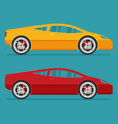 isolated sport cars flat design style vector image vector image