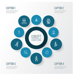 people outline icons set collection of smart man vector image