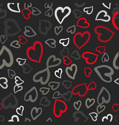 red and gray hearts seamless tile vector image vector image