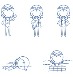swimmer girls in different situations vector image vector image