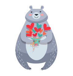 white bear with bouquet of fowers isolated vector image vector image